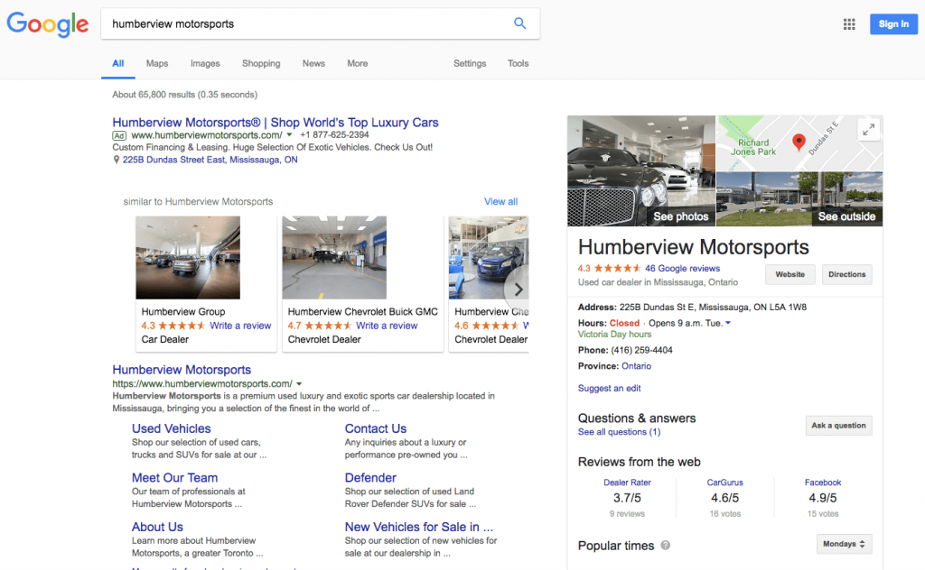 Example of Google SERP format changes in 2018